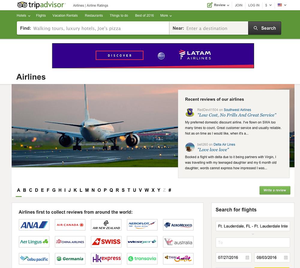 TripAdvisor, viajeros opinaran sobre aereolineas