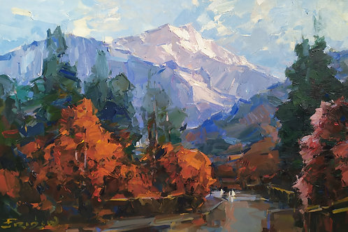"Eugene Fridlin ""The road to the mountains. Sunset"""