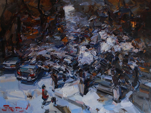 """Eugene Fridlin """"Winter evening. View from the window"""""""