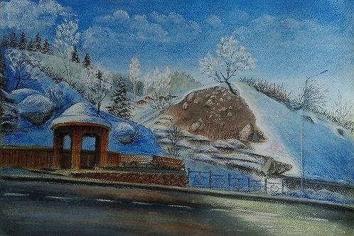"""Olga Gorbenko """"Spring on the road to Medeo"""""""