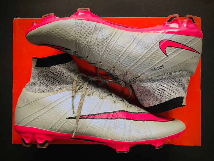 """Nike Mercurial Superfly IV """"Silver Storm"""" FG Wolf Grey / Hyper Pink UK 8"""