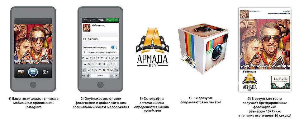 Принцып работы инстапринтера Армада шоу Омск