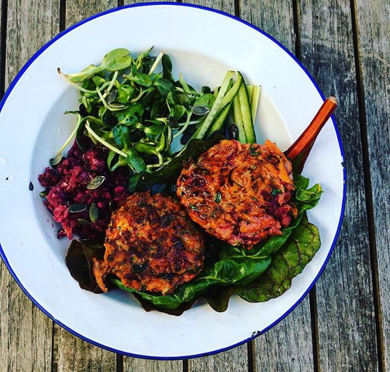 Veg Box Fritters with home made Kraut Probiotics
