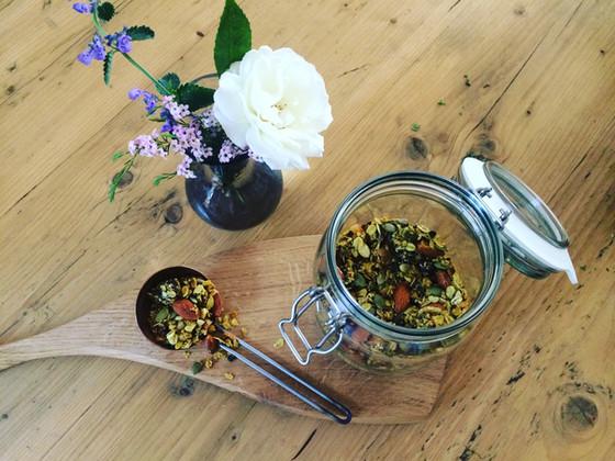 Medicinal Gluten Free Granola-Turmeric Cinnamon, Date, Cacao, Elderberry.