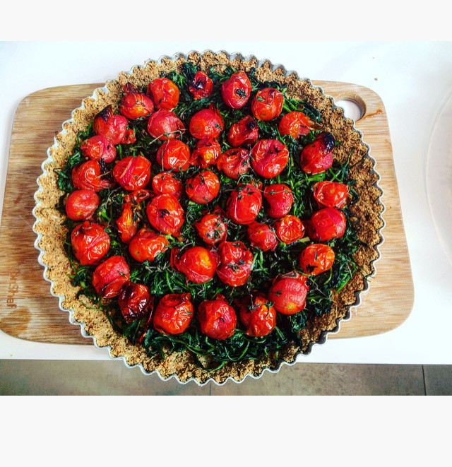 Roasted tomato and Spinach Tart