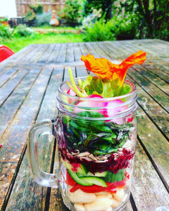 Rainbow Jam Jar Salads for on-the-go working lunches.