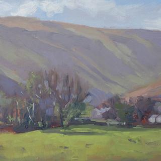 Morning Light, Stonethwaite 6x16_ Oil on