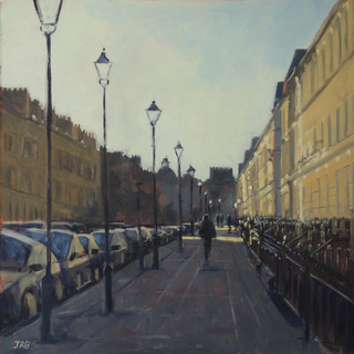 "Great Pulteney Street, late afternoon sunshine. 14x14"" oil on board"