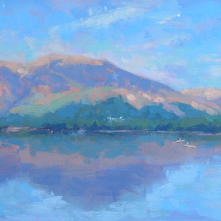 Kayaks and Cows, Derwent Water. Oil on b