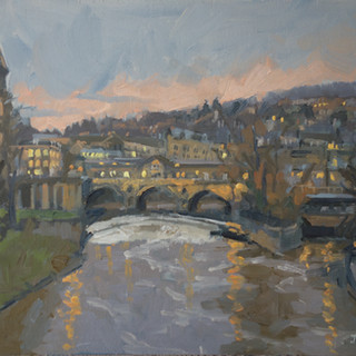 "Dusk, Pulteney Bridge. 12x10"" Oil on boa"