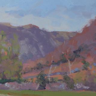 Towards Stonethwaite, 16 x 6_ Oil on boa