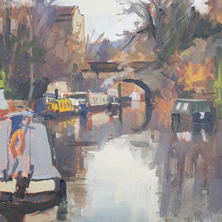 "The Canal by Bathwick Hill. 8x10"" Oil on board"