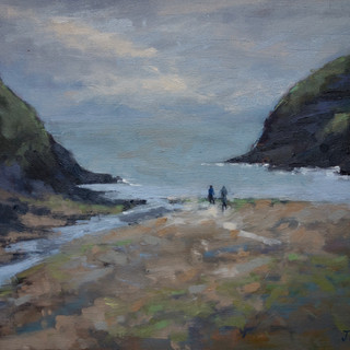 'Ceibwr Bay, afternoon Light' Oil on boa