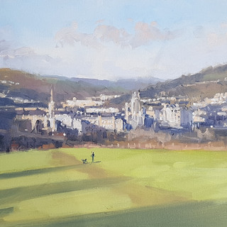 "Bath from Bathwick Meadows. 24 x 12"" Oil on board"
