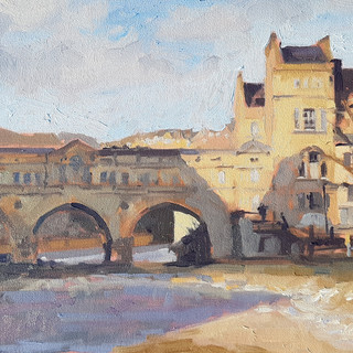 "Pulteney Bridge, sunny afternoon. 12x 10"" oil on board"