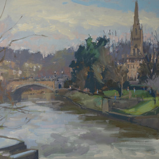 "The Avon from Pulteney Bridge. 14x11"" oil on board"