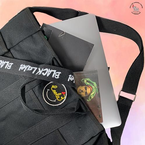 Canvas Shoulder Bag with Inspirational Ribbon