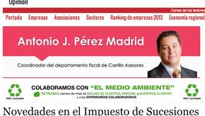 «NOVEDADES EN EL IMPUESTO DE SUCESIONES Y DONACIONES» por Antonio Pérez