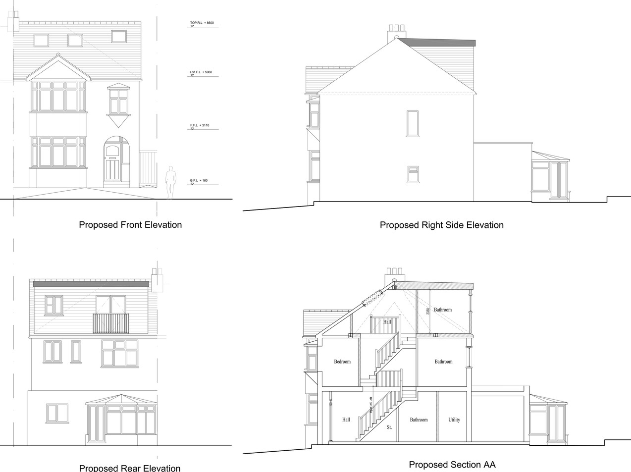 Proposed elevations and sections plans.j