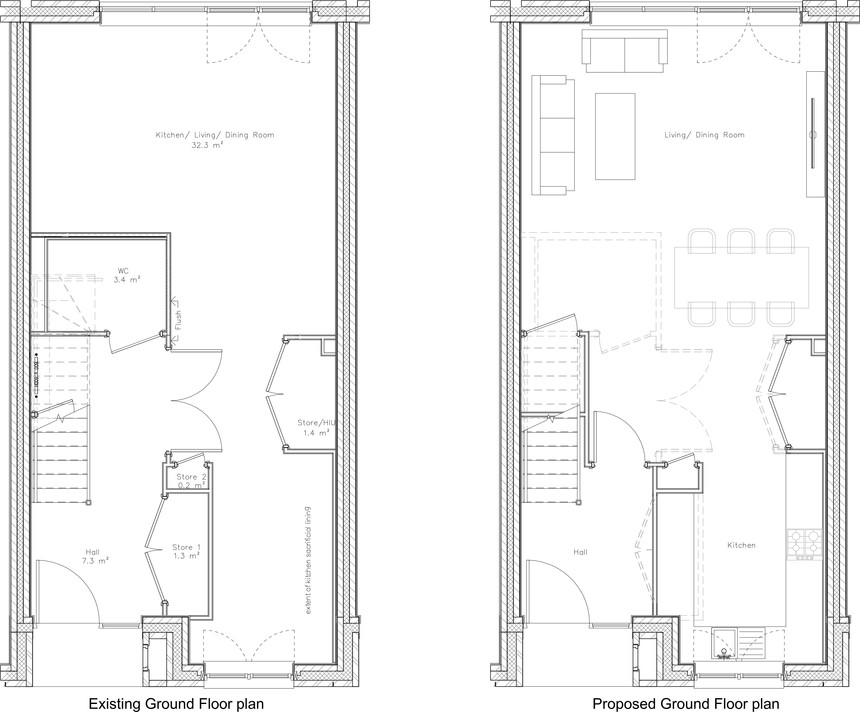 Existing and Proposed Ground Floor Plan.