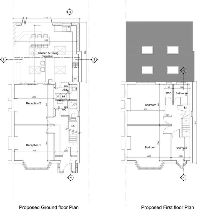 Proposed ground floor and first floor pl
