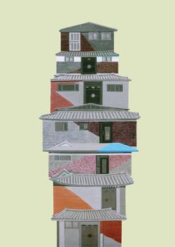 벽돌한옥_116.8 x 80.3cm,2009, Acrylic on