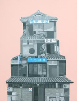 뚜껑한옥_형수수선_100x72cm_acrylic on canvas_2009