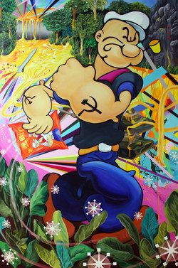 The secret of Popeye snack,2007, acrylic on canvas, 193.9x130
