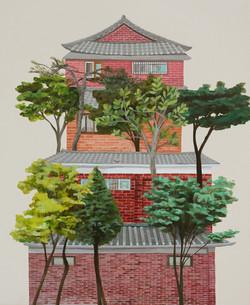 나무가 있는 벽돌한옥_2013__Acrylic on canvas_60.6x45cm