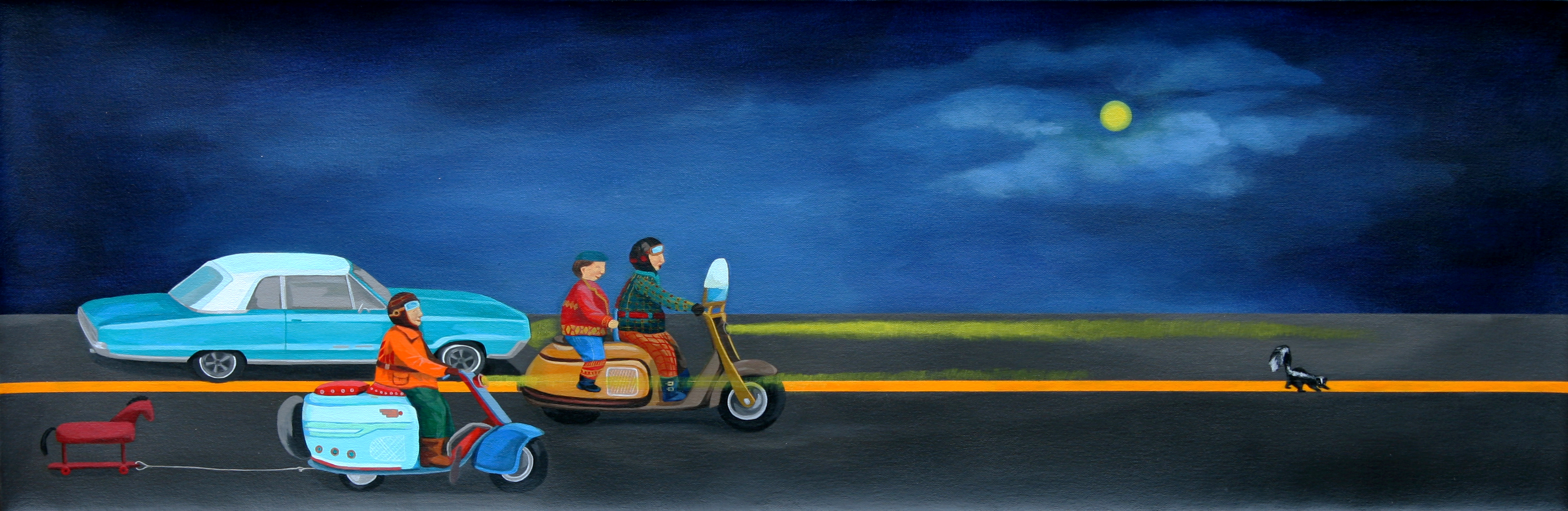 스컹크사냥_2008_Acrylic on canvas_45x100cm