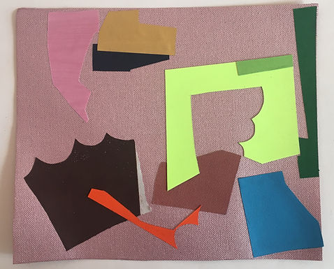 collage on paper with printed paper. cut
