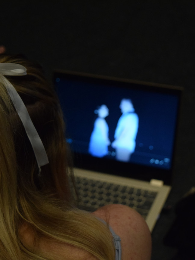 Georgia Bradford Watching Footage from Rehearsal