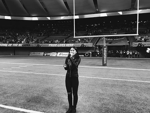Nozomi Lyn Singing the Canadian National Anthem at the BC Place Stadium