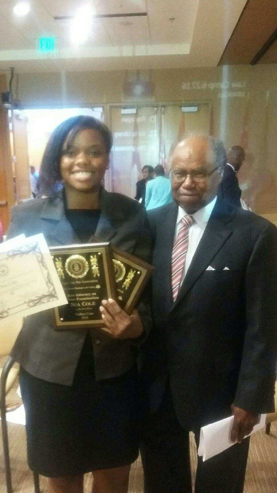 Supreme Court of Georgia Justice Benham with Nia Cole Gate City Mock Trial Champion