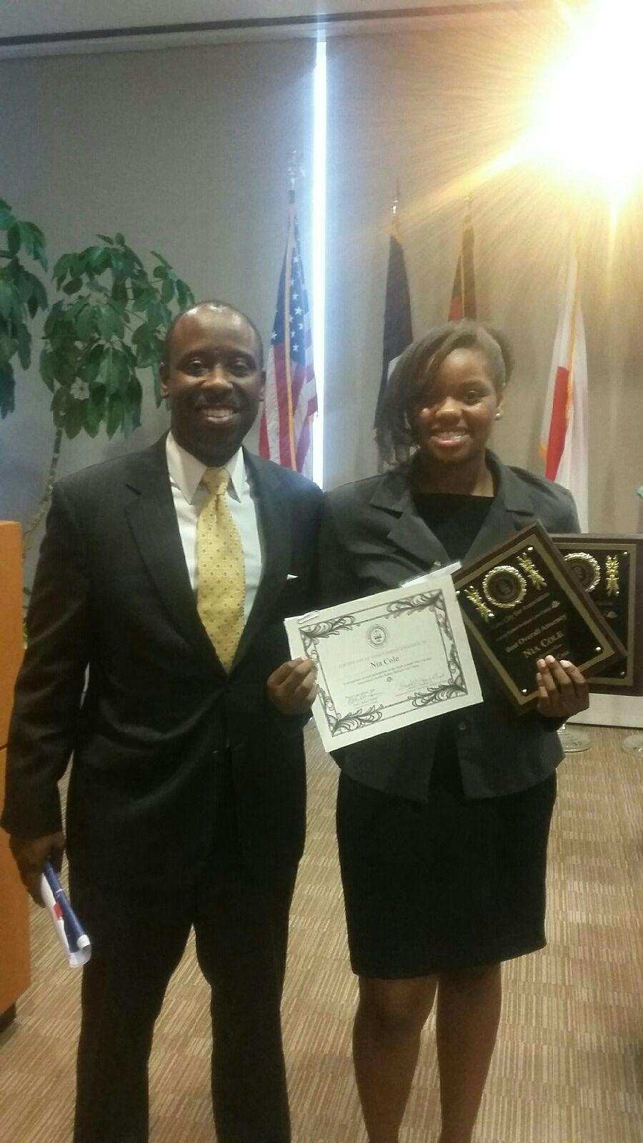 Nia Cole with Attorney Harold Franklin of Gate City Bar Justice Benham Mock Trial Champion