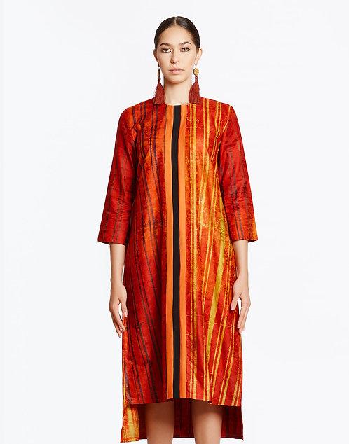 Orange Batik Shift Dress