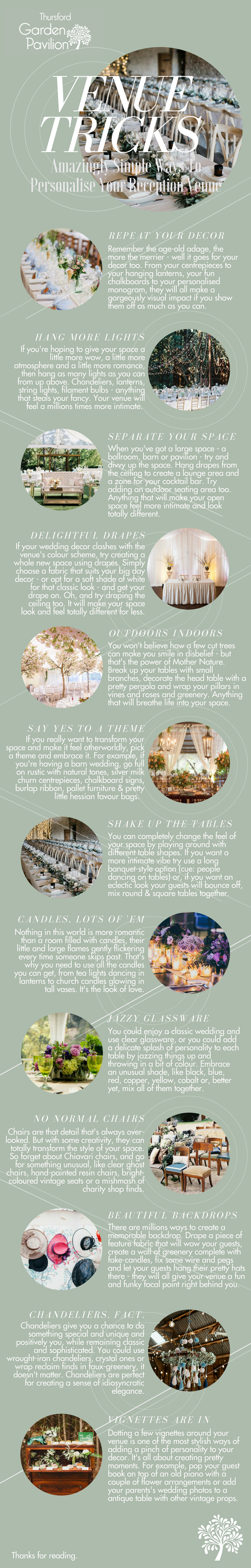Amazingly Simple Ways To Personalise Your Wedding Venue | Thursford Garden Pavilion