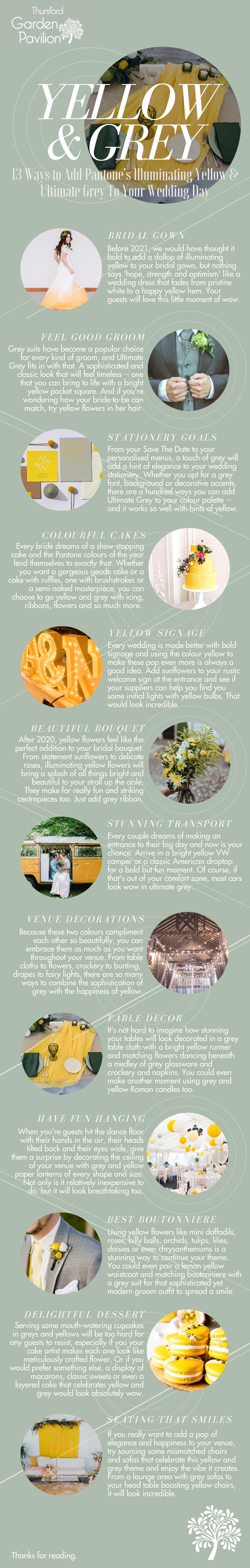 13 Ways To Add Pantone's Yellow & Grey To Your Wedding Day