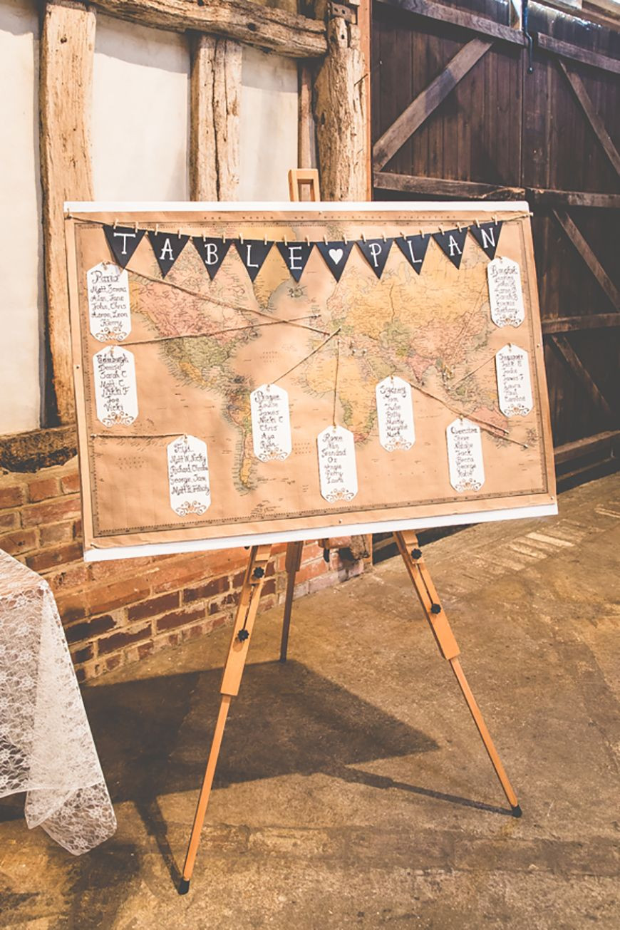 Antique Map Wedding Table Plan