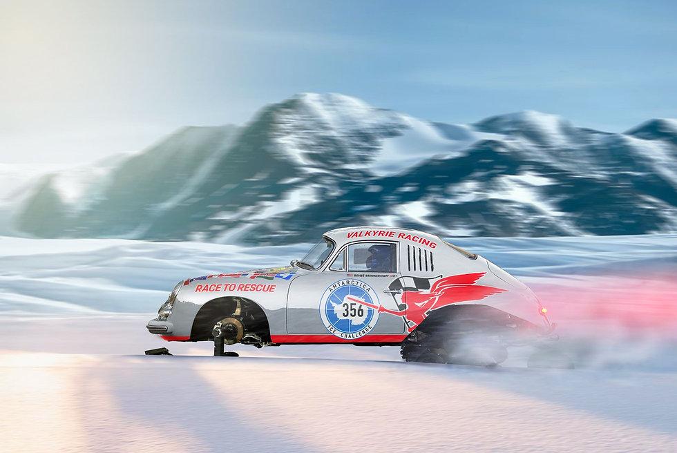 Classic Porsche 356 racing across ice in Antarctica with custom ice tracks