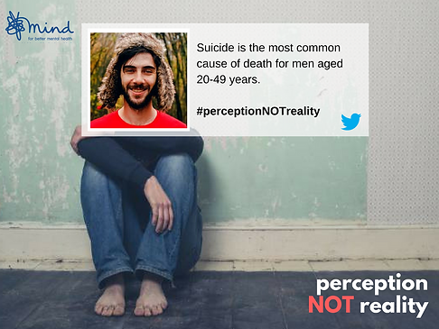 MIND, Suicide among men, #PerceptionNotReality, Perception Not Reality, Social Media and depression campaign