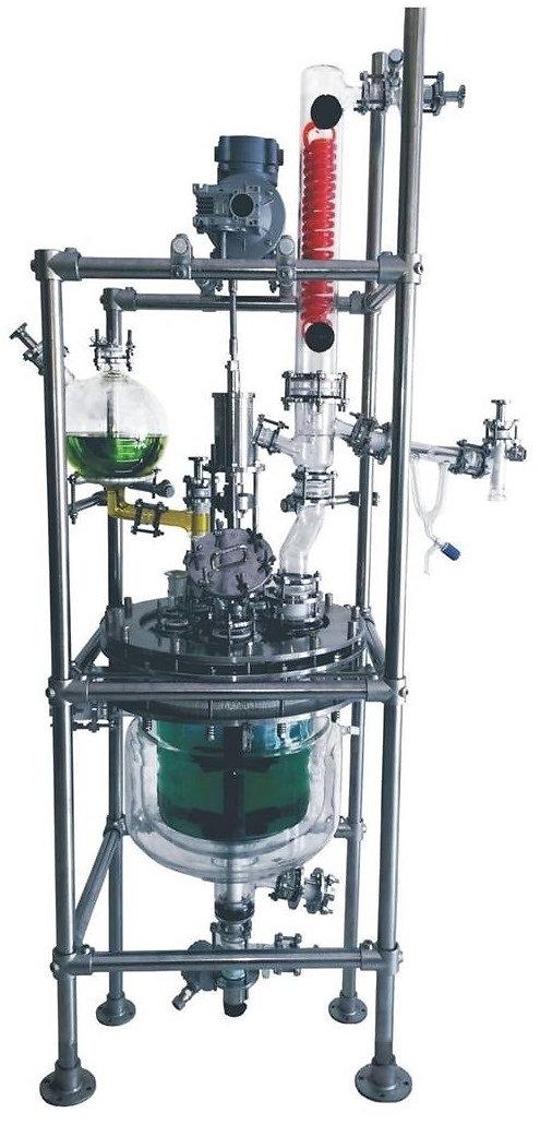 Стеклянный реактор с рубашкой Simax, стеклянный реактор с двойной рубашкой, стеклянный реактор с рубашкой и мешалкой Ablaze, реактор из стекла, химический реактор из стекла