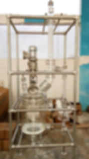 Стеклянный реактор Ablaze Glass Works, стеклянные реакторы Индия, реактор из стекла, реактор 20 литров, реактор с рубашкой и мешалкой, реактор с перегонкой