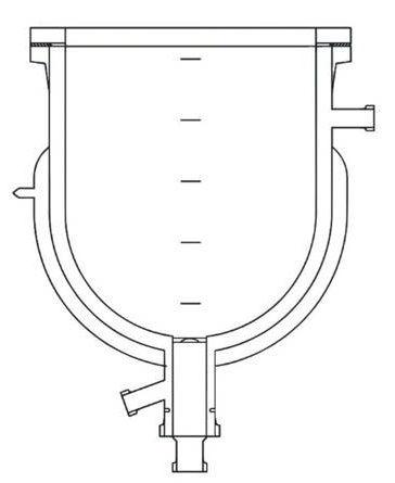Стеклянный реактор с тройной рубашкой, стеклянный реактор трехстеный, реактор из стекла с вакуумной рубашкой, криогенный реактор из стекла 2 литра лабораторный