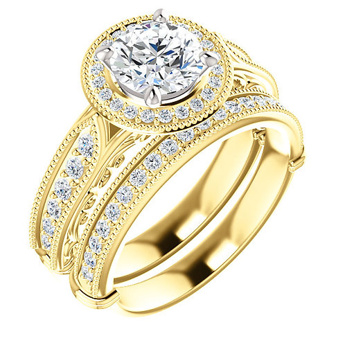18K Yellow & White Vintage-Inspired Halo-Style Engagement Ring Semi-Set Mount