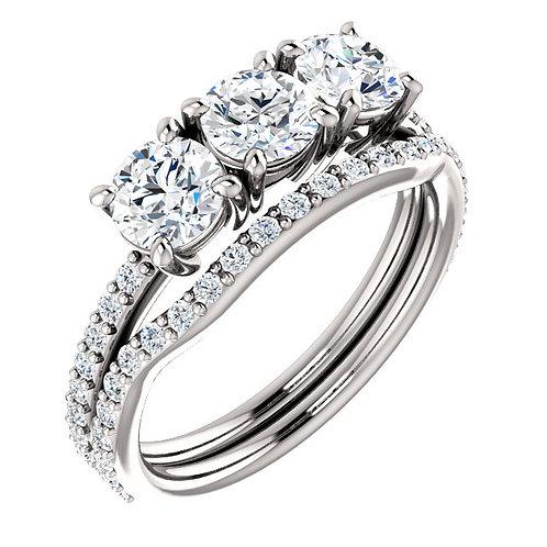 14K White 4.8mm Round 3 Stone Engagement Ring Semi-Set Mounting