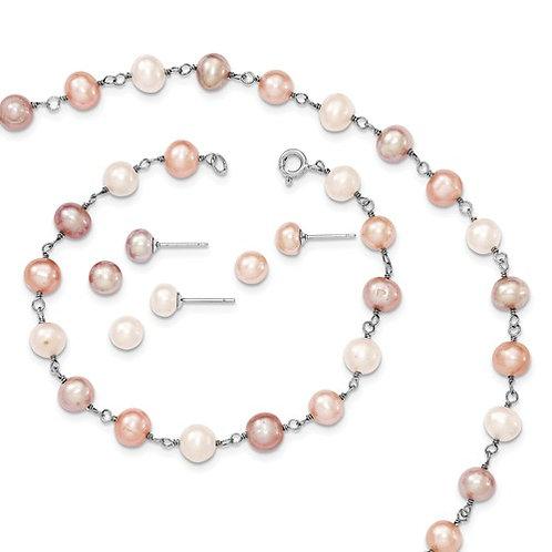 Sterling Silver RH White/Pink/Purple FWC Pearl Neck Bracelet And Ear Set