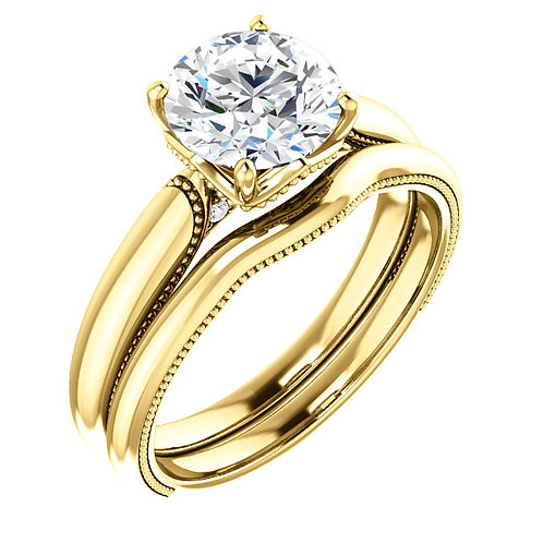14K Yellow 7.4mm Round Engagement Ring Semi-Set Mounting