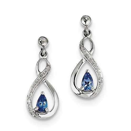 Sterling Silver Rhodium-Plated Tanzanite And Diamond Earrings