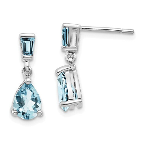 14k White Gold Aquamarine Dangle Earrings